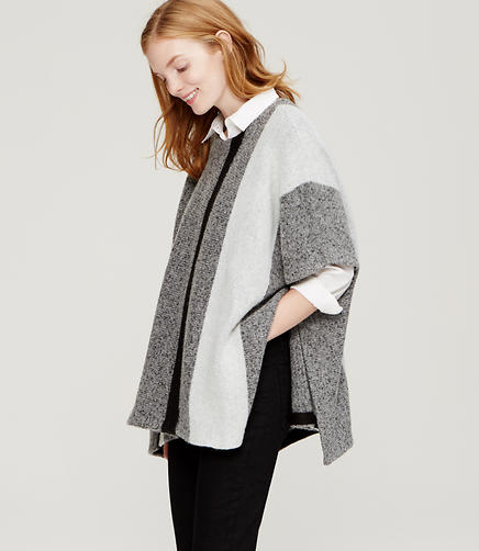 Image of Border Stripe Poncho Sweater