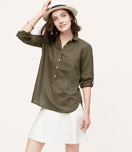 Image of Tall Linen Cotton Henley Shirt