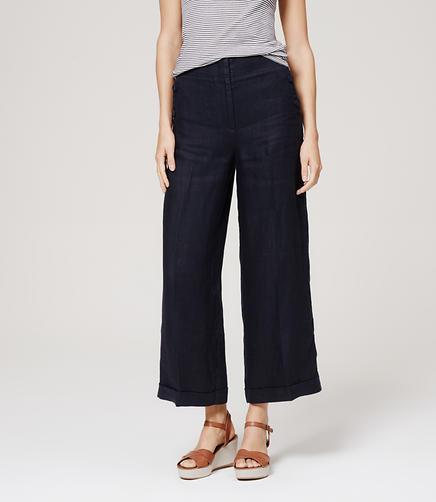 Image of Petite Cropped Linen Sailor Pants