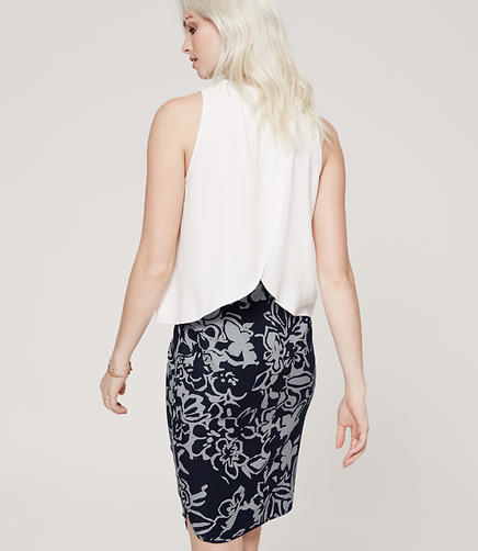 Image of Curvy Fit Painterly Floral Pencil Skirt