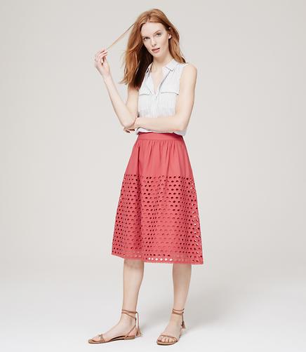 Image of Eyelet Midi Skirt