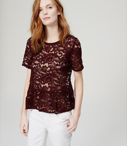 Image of Lace Peplum Tee