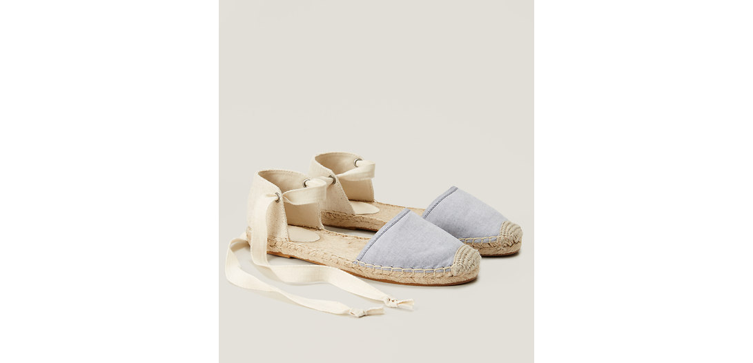 LOFT Chambray Ankle Tie Espadrilles