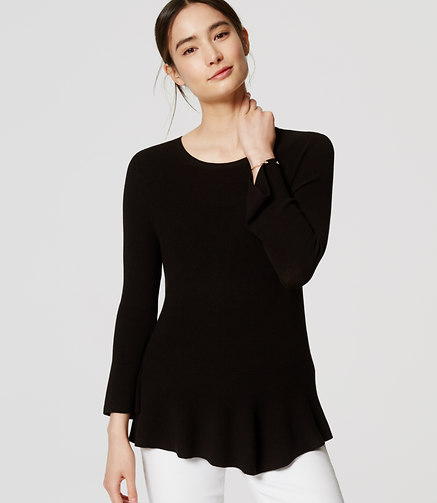 LOFT Ribbed Peplum Sweater