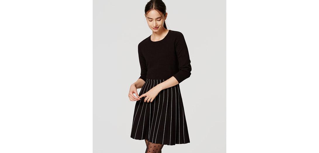 LOFT Striped Skirt Sweater Dress