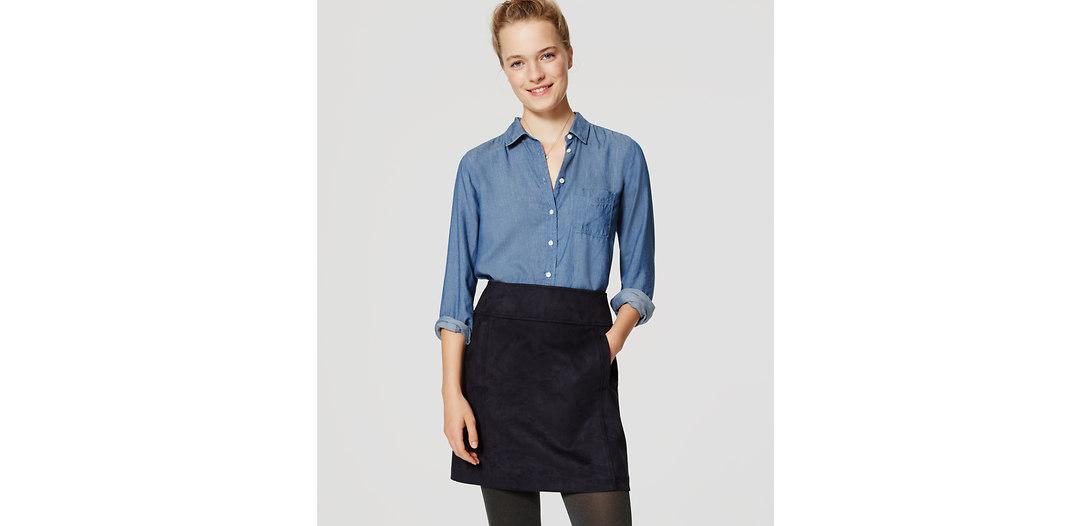 LOFT Petite Faux Suede Shift Skirt