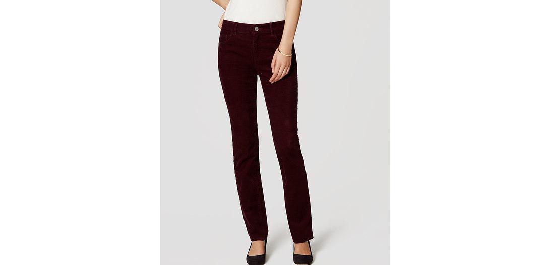 LOFT Curvy Straight Leg Corduroy Pants