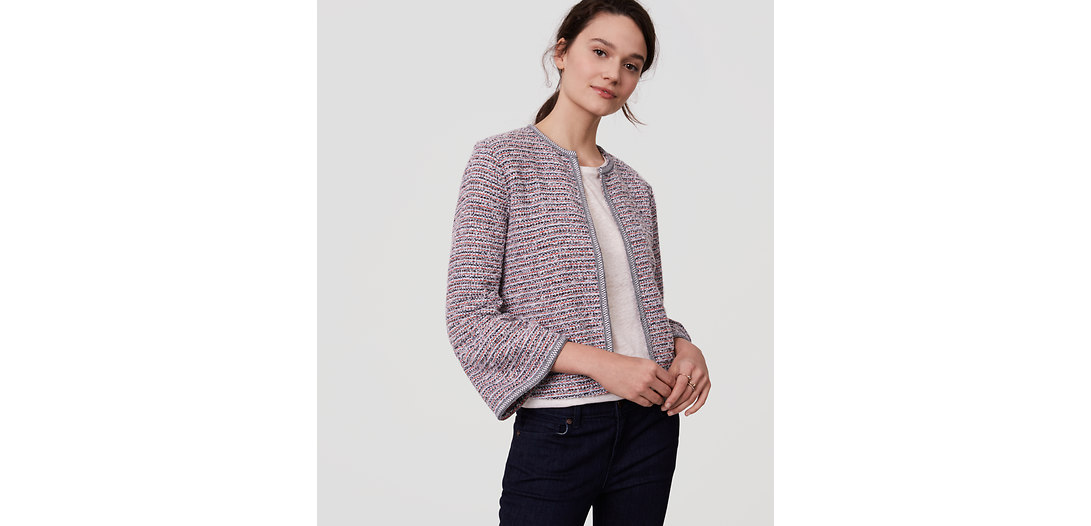 LOFT Tweed Bell Sleeve Jacket