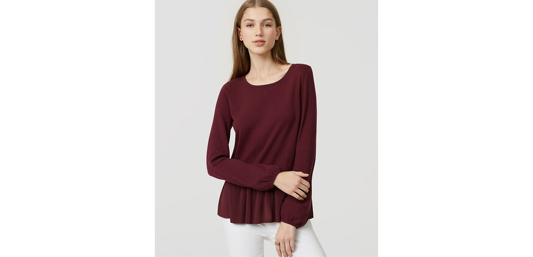 LOFT Mixed Media Peplum Sweater