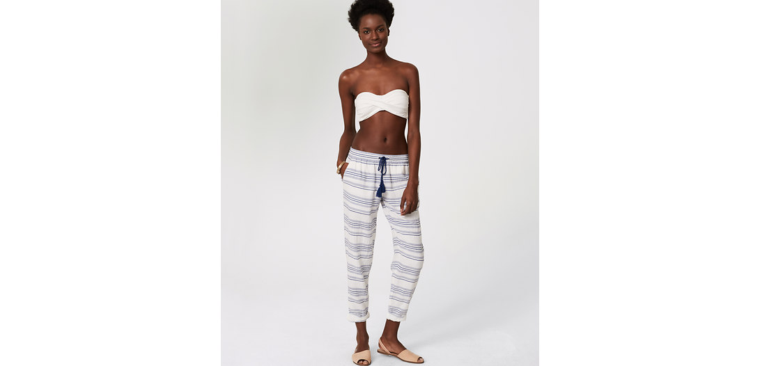 LOFT Beach Striped Drawstring Pants
