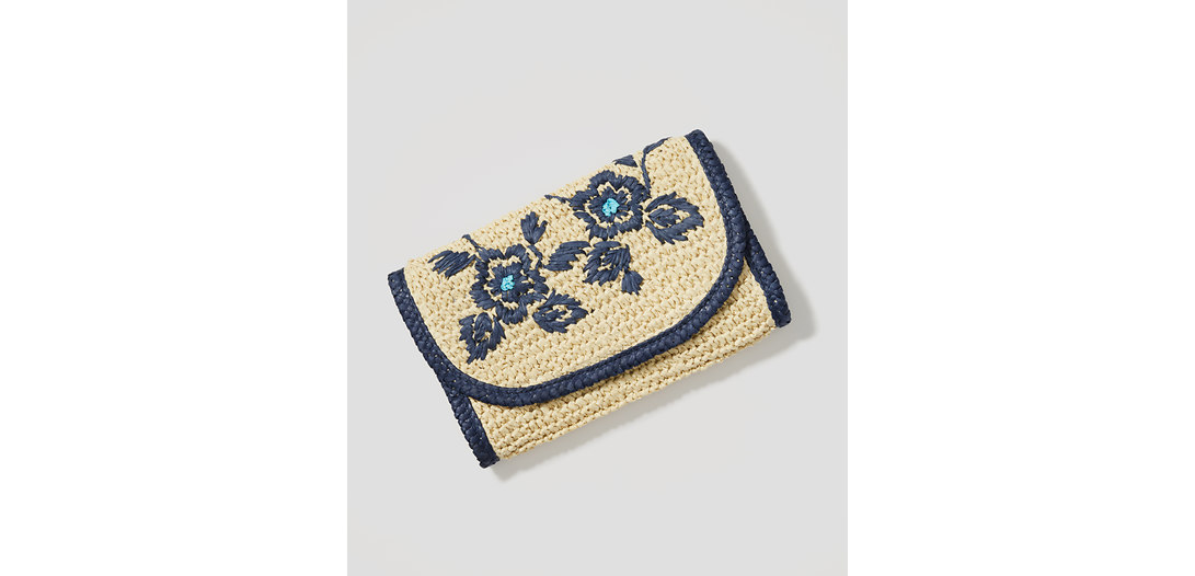 LOFT Floral Embroidered Straw Clutch