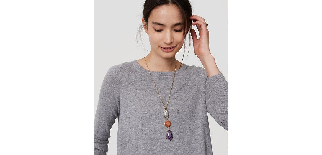LOFT Multicolored Stacked Stone Pendant Necklace