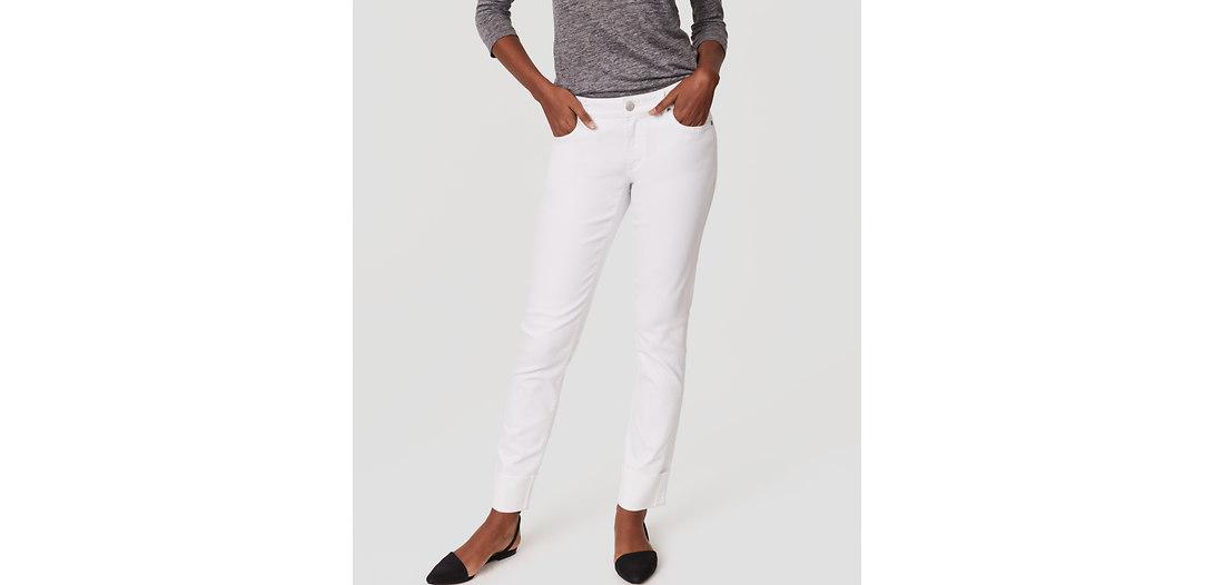 LOFT Curvy Frayed Cuff Straight Leg Jeans in White