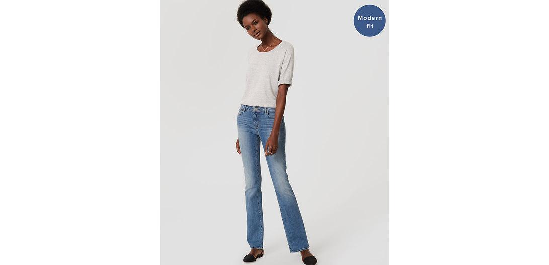 LOFT Tall Modern Boot Cut Jeans in Authentic Light Indigo Wash