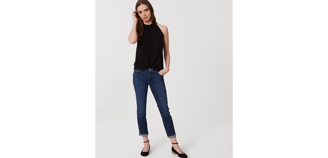 LOFT Petite Modern Skinny Crop Jeans in Pure Dark Indigo Wash