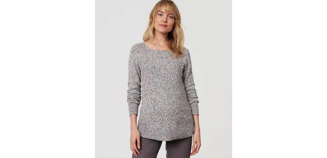 LOFT Maternity Ribbed Pointelle Sweater