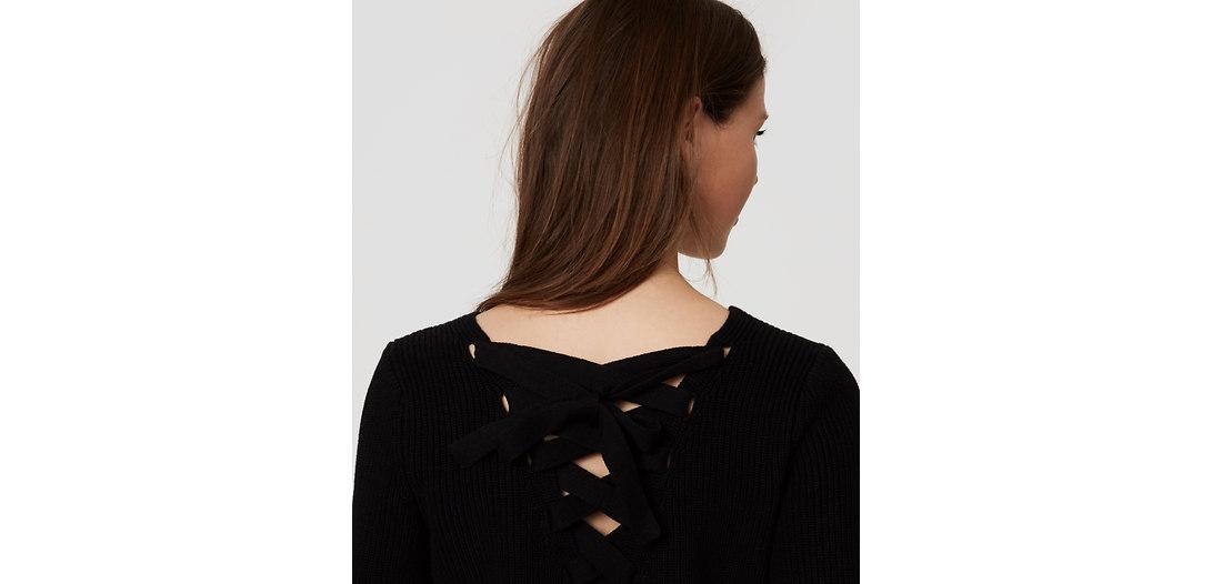 LOFT Petite Lace Up Back Sweater