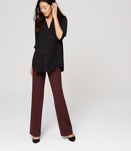 Image of Petite Maternity Trouser Leg Pants in LOFT Custom Stretch