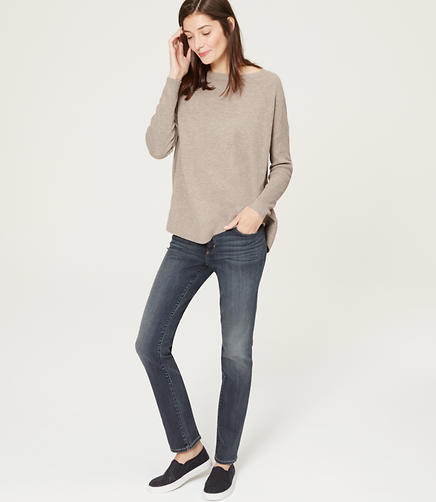Image of Curvy Straight Leg Jeans in Dense Blue Wash