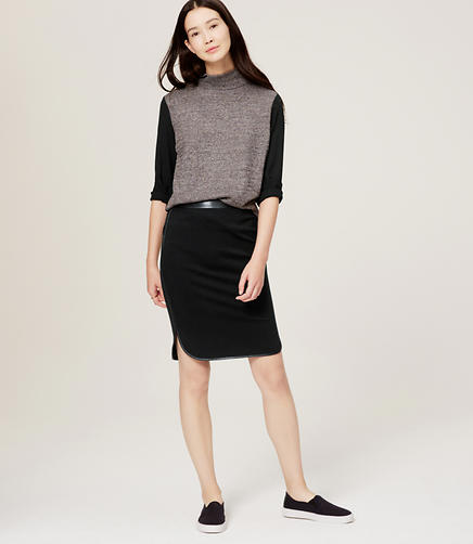 Image of Faux Leather Trim Shirttail Skirt