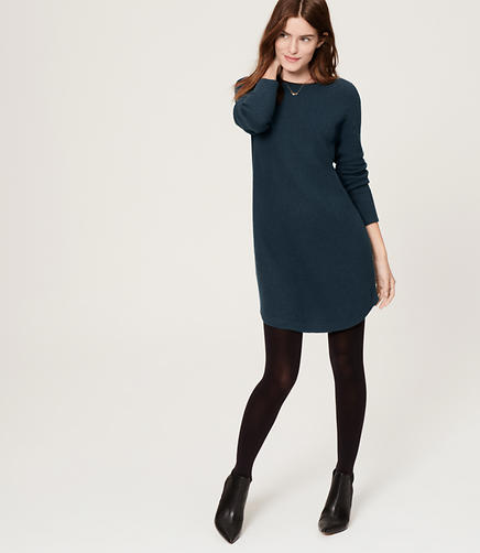 Image of Faux Leather Trim Sweater Dress
