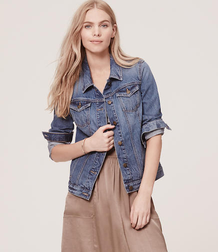 Image of Petite Denim Jacket in Sterling Blue Wash