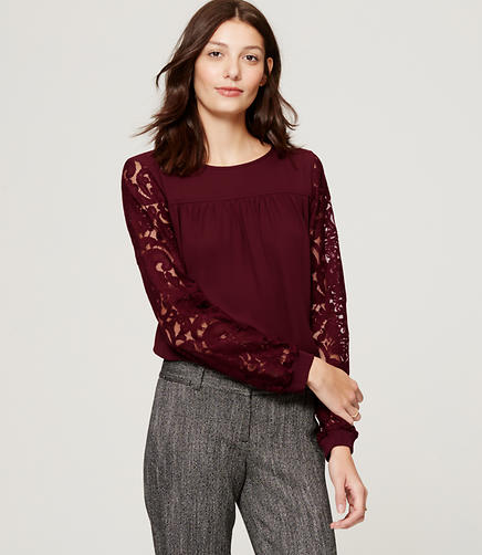 Image of Lace Sleeve Sweatshirt Blouse