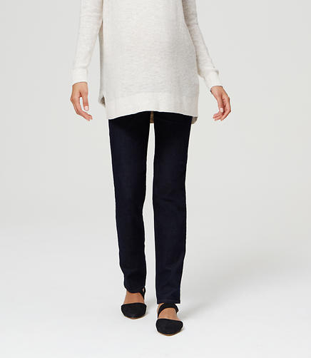 Image of Maternity Straight Leg Jeans in Dark Rinse Wash