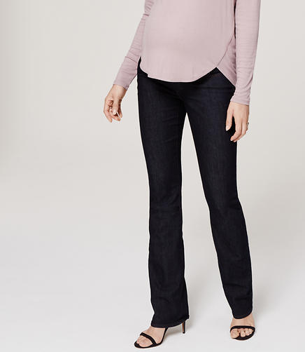 Image of Petite Maternity Boot Cut Jeans in Dark Rinse Wash