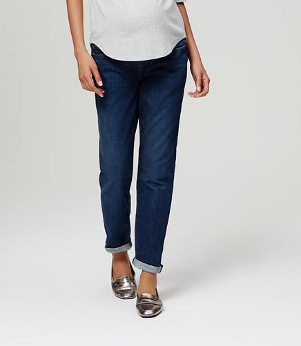 Image of Petite Maternity Boyfriend Jeans in Pioneer Blue Wash