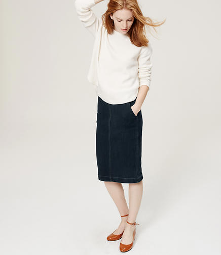 Image of Petite Stretch Denim Pencil Skirt