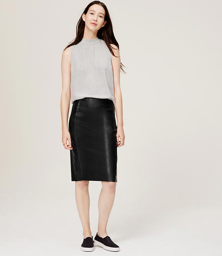 Image of Petite Faux Leather Pencil Skirt