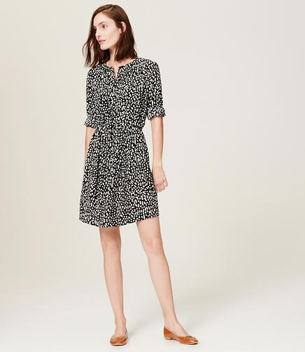 Image of Brush Print Shirtdress