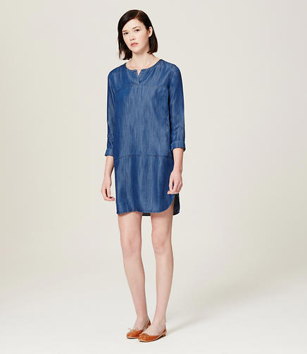 Image of Petite Chambray Tunic Dress