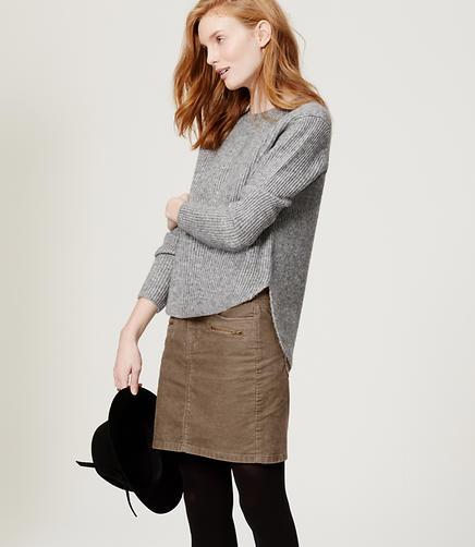 Image of Petite Corduroy Moto Skirt