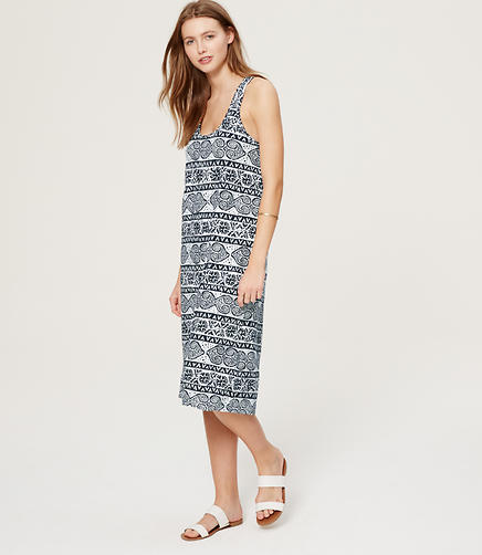 Image of LOFT Beach Paisley Cross Back Midi Dress