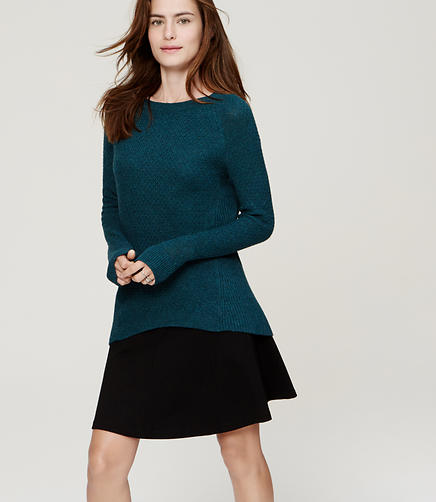 Image of Petite Mixed Stitch Tunic Sweater