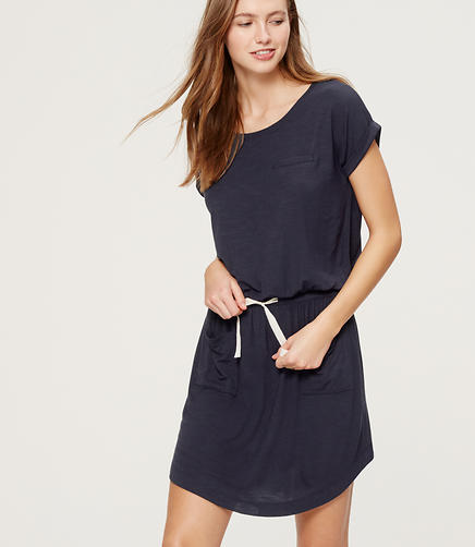 Image of LOFT Beach Drawstring Tee Dress