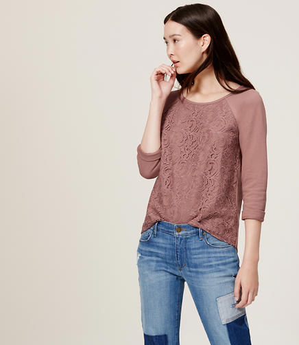 Image of Petite Lace Front Sweatshirt
