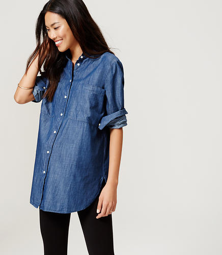 Image of Maternity Chambray Tunic Softened Shirt