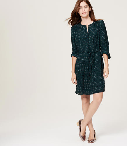 Image of Petite Mosaic Pintucked Shirtdress