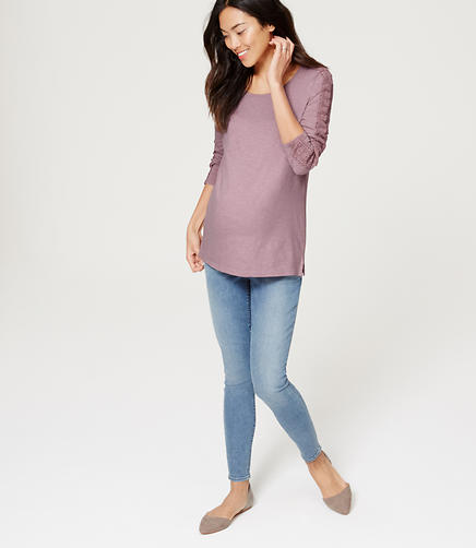 Image of Petite Maternity Lacy Long Sleeve Tee