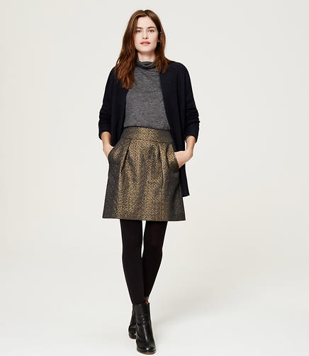 Image of Metallic Jacquard Shift Skirt