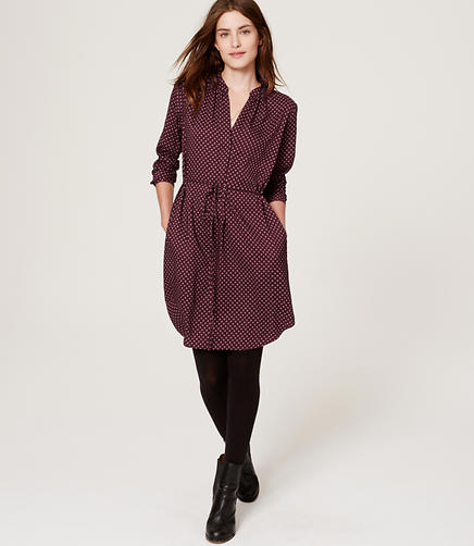 Image of Dot Floral Belted Shirtdress