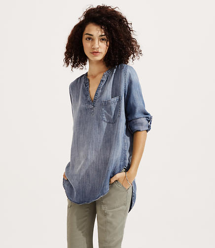 Image of Lou & Grey Chambray Splitneck Shirt