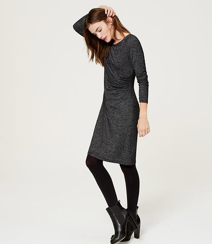 Image of Melange Side Shirred Dress