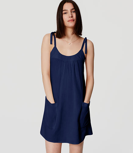 Image of LOFT Beach Tie Strap Swing Dress