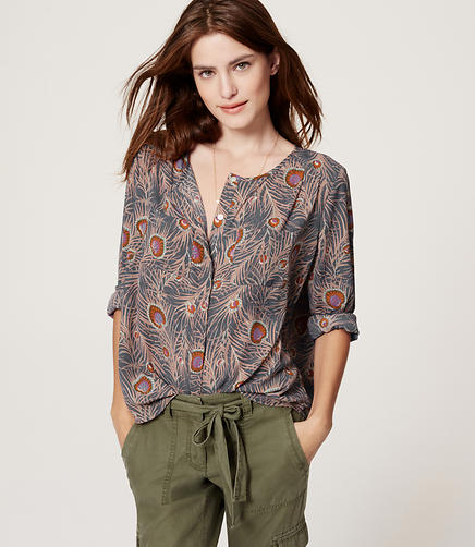 Image of Collarless Utility Blouse