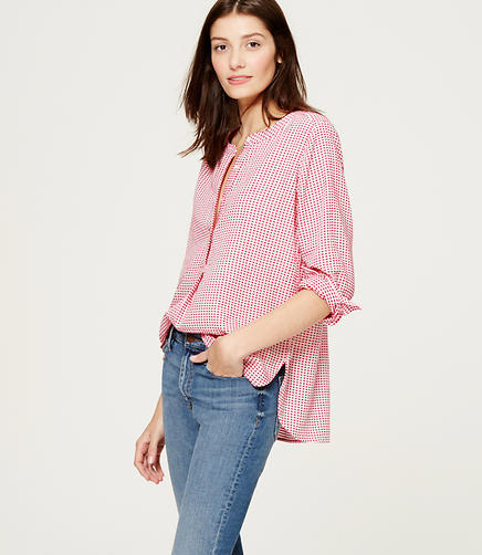 Image of Checked Collarless Blouse