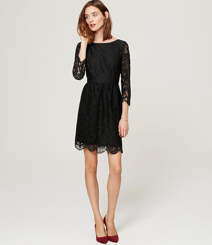 Image of Petite Scallop Lace Dress
